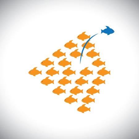 결정된: 다른되고 인생에서 성공을 위해 위험, 대담한 행동을 복용 - 개념 그래픽. 그림은 파란 물고기가 위험한 다른 방법을 복용하는 동안 오렌지 물고기가 한 방향으로 함께 이동하는 표시