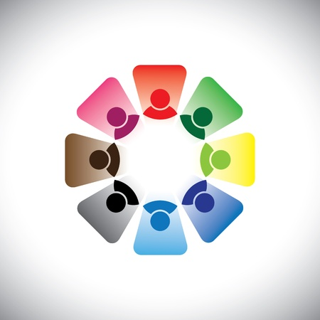Colorful multi-ethnic corporate workers team- graphic. This illustration can also represent concept group of employees in team meeting or group discussion, etc Vector