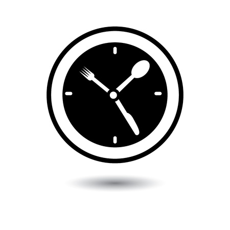 Lunch hour, food time, dinner time- concept illustration  The graphic icon represents concept time for food, meal, lunch, etc  Vector