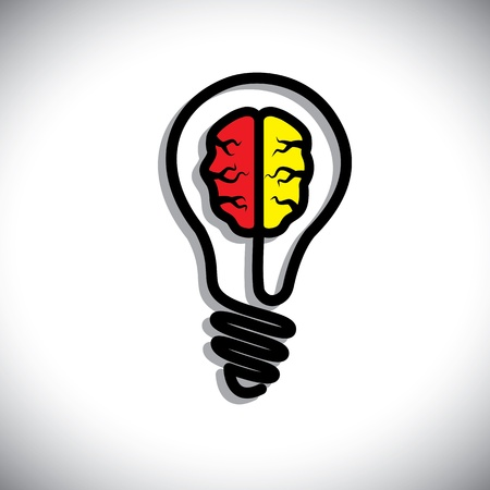 ingenious: Concept of Idea generation, problem solution, creativity. This graphic illustration consists of a bulb and a brain inside it.