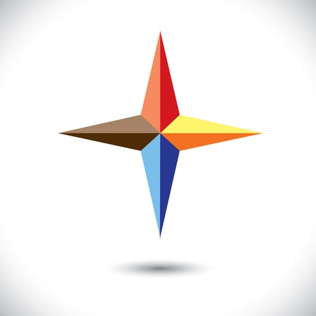 triad: Colorful plus icon(positive sign) of triangles- graphic. The illustration represents a symbol positivity with vivid and vibrant red, blue, orange colors