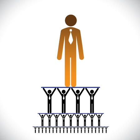 corporate hierarchy: Concept of corporate hierarchy, management structure illustration Illustration