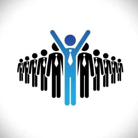 numero uno: Concepto de ganador ejecutivo, campeón de negocios ilustración