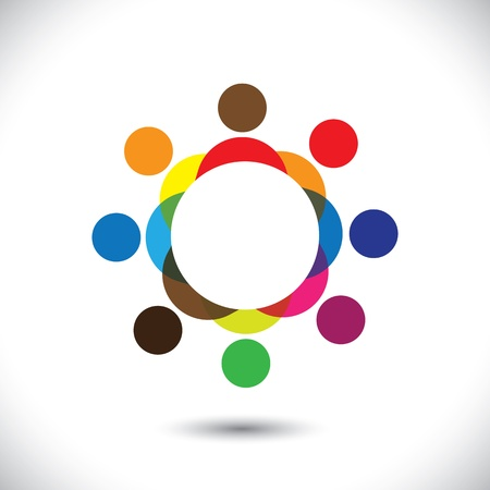 togetherness: Abstract colorful people symbols in circle illustration