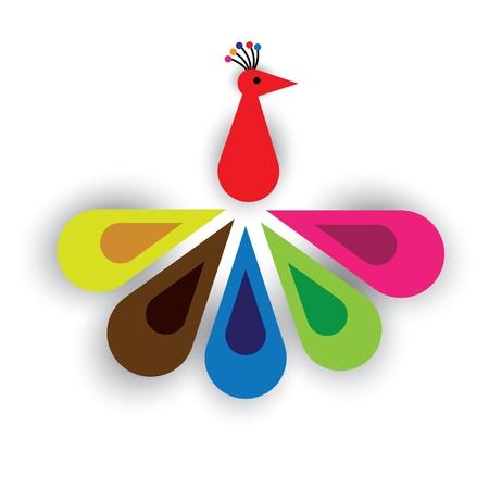 peacock feathers: Ave del paraíso o plumas de colores del pavo real de la ilustración