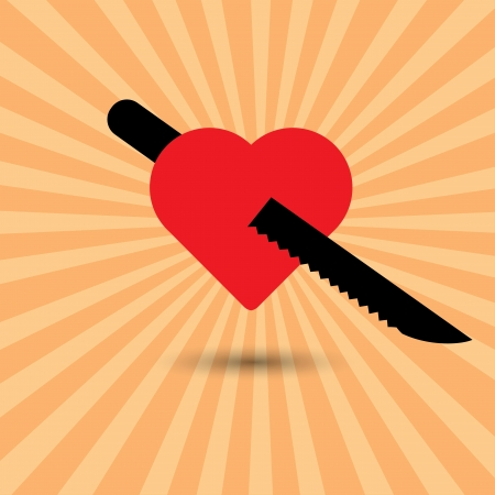 rekolekcje: Czerwone serca i nóż ilustracji