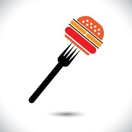 logotipos de restaurantes: hamburguesa y tenedor ilustración