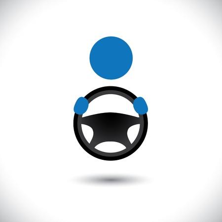 Bestuurder auto, voertuig of auto of symbool-vector graphic. De afbeelding toont een taxichauffeur icoon met zijn hand het stuur vast en ruimte voor tekst en zakelijke slogan Vector Illustratie