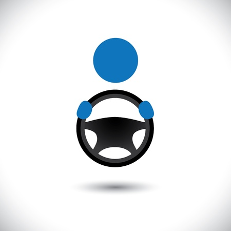 Car, vehicle or automobile driver icon or symbol- vector graphic. The illustration shows a cabbie icon with his hand holding the steering wheel and space for business text and business slogan Illustration