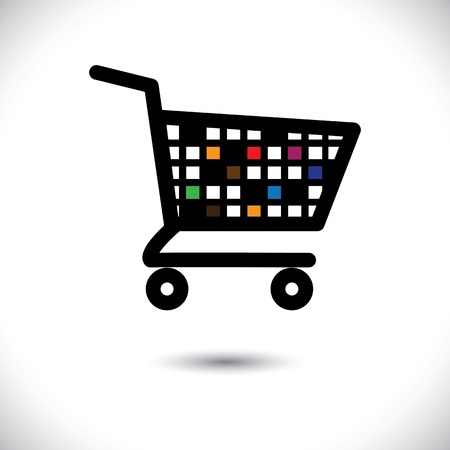 online logo: abstract colorful shopping cart illustration