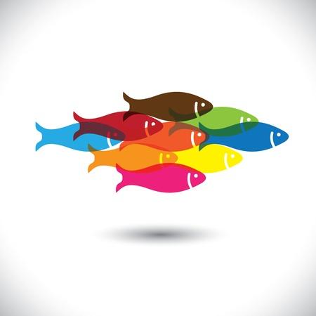 Colorido de la escuela de ilustración de peces Vectores