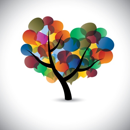 discussion forum: Colorful tree chat icons & speech bubble illustration