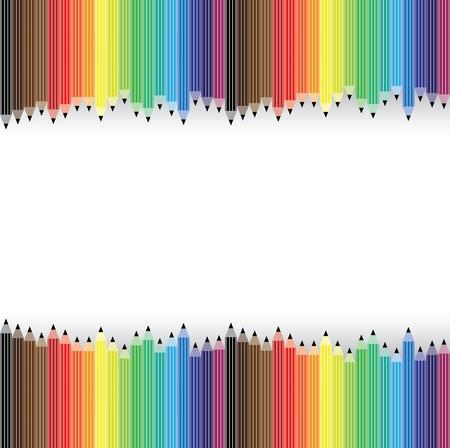 arranged: Colorful pencils arranged illustration