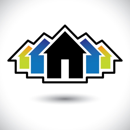 realestate: House(home) & residence sign for real estate-  graphic. The illustration is also a icon for buying & selling property, residential accommodations, offices, etc Illustration