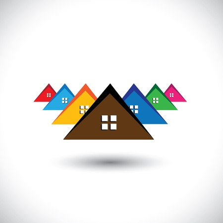 House(home), residential locality of a town or city- graphic. The illustration is also a icon for buying & selling residential property, office, etc Stock Vector - 19871269