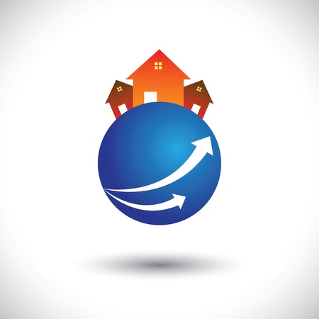 realty residence: House(home) or residence icon on a planet- graphic. The illustration is also a icon for buying & selling property, residential accommodations, rental services, etc
