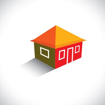 homestead: House(home) or hut icon for real estate- graphic. The illustration is also a icon for buying & selling property, residential accommodations, travel & tourism, camping, hiking & adventure, etc