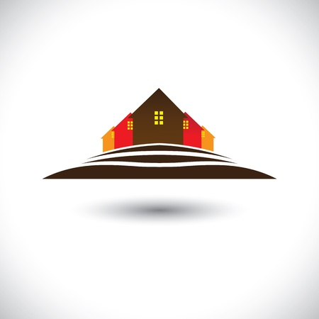 residences: House(home) & residences on hill icon for real estate market. This  graphic is also a icon for buying & selling property, residential accommodations, offices, etc