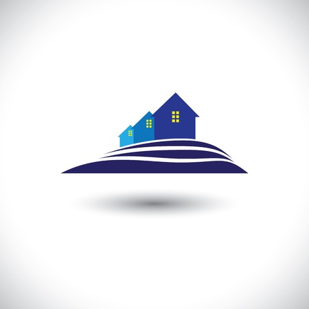 realestate: House(home) & residence icon for real-estate-  graphic. The illustration is also a icon for buying & selling property, residential accomodations, offices, etc