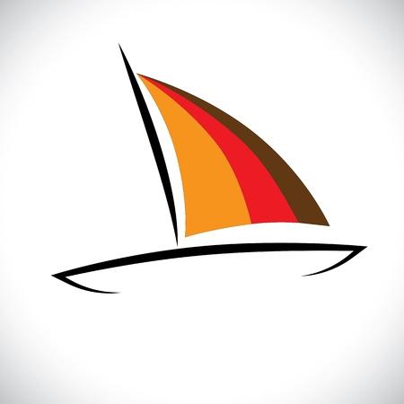 bateau voile: Bateau color� ou une ic�ne canot voile en mer graphique vecteur. L'illustration graphique repr�sente une petite embarcation � des fins de voyage ou de p�che voyageant dans l'oc�an Illustration