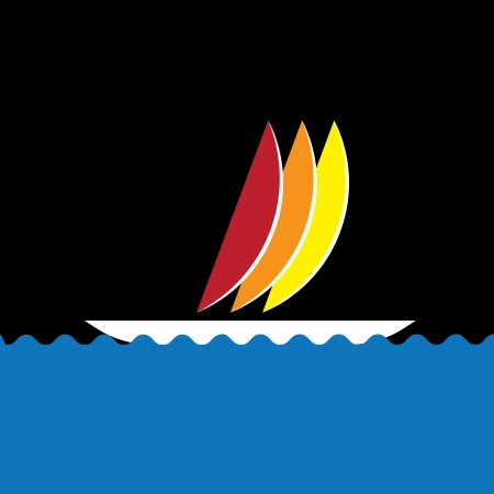 yacht race: Colorful sail-boat or canoe icon moving in sea- vector graphic. The graphic illustration represents any small watercraft for travel or fishing purposes traveling in ocean Illustration