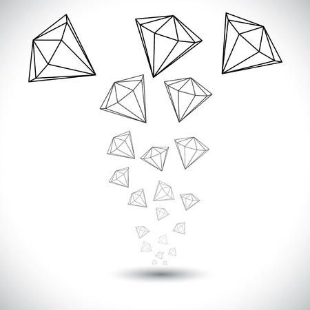 diamond stones: Black and white diamond jewel stones background vector graphic. This illustration shows diamonds in black and grey outlines rising from a source