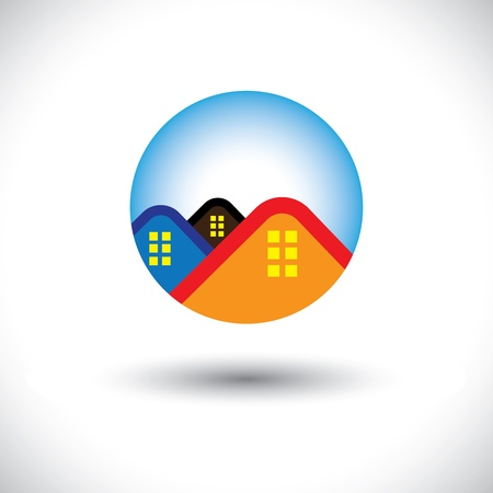 homestead: House(home) & residence symbol for real estate- vector graphic. The illustration is also a icon for buying & selling property, residential accommodations, offices, etc Illustration
