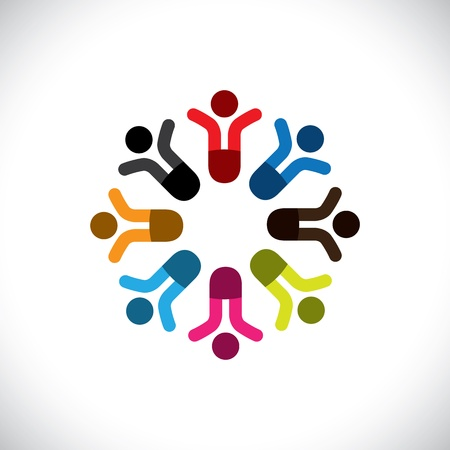 Concept vector graphic- social media communication & people icons. This illustration can also represent people meeting, teamwork, network, employee unity & diversity, worker groups, etc Vector