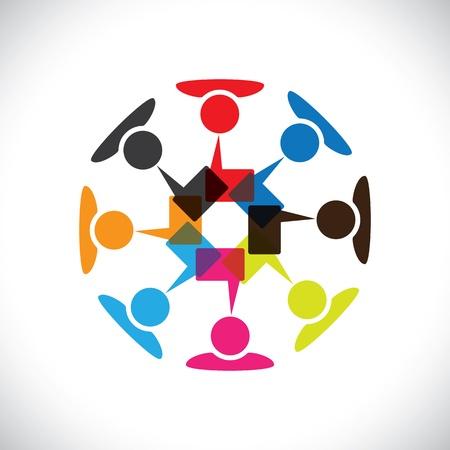 Begrip vector graphic-social media interactie en communicatie. Deze illustratie kan vertegenwoordigen ook mensen chatten, teamwork, vergadering, werknemer interacties en discussies, uiten van meningen, etc Stock Illustratie
