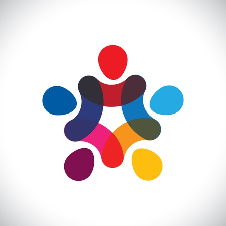 コミュニティの団結、連帯 & 友情ベクター グラフィックの概念。この図はまた円または労働者等の労働組合で一緒に手をつないで一緒に遊んでいるカラフルな子供を表すことができます。 写真素材 - 20163040