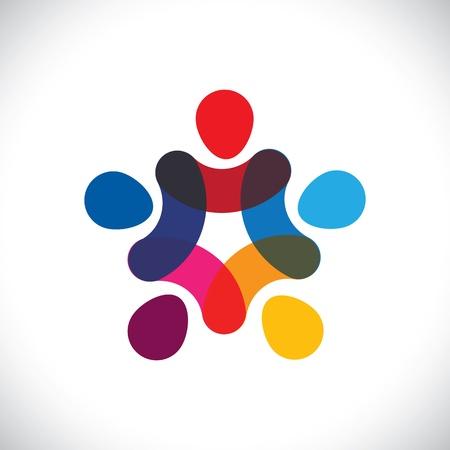 girotondo bambini: Concetto di comunit� di unit�, solidariet� e amicizia-grafica vettoriale. Questa illustrazione pu� anche rappresentare colorato bambini che giocano insieme mano nella mano insieme a cerchi o sindacali dei lavoratori, ecc
