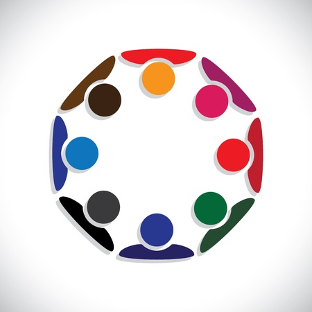 kids holding hands: Concept of workers meeting, employee interaction- vector graphic. This illustration can also represent colorful kids playing together in circles or people diversity or workers unity, etc