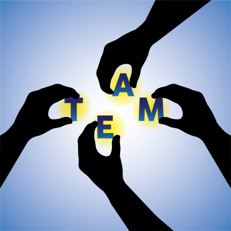 construction team: Concept vector graphic- people hands silhouette arranging team word. This illustration can also team putting together & constructing or building team word Illustration