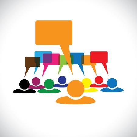 개념 벡터 그래픽 리더 & (연설 거품)을 말하는 노동자. 이 다채로운 그림은 사람들이 다양성, 팀워크, 직원의 대화 및 상호 작용, 노동자 토론 등을  일러스트
