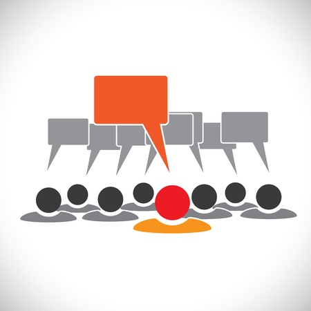 Concept vector graphic- leader & employees talking(speech bubbles). This illustration can also represent people meeting, teamwork, network, employee conversation & interaction, worker discussions, etc Vector