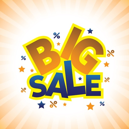 huge: Concept vector graphic- banner announcing big sale discounted prices. This illustration can represents a company displaying sales at huge discounts during holidays  Illustration