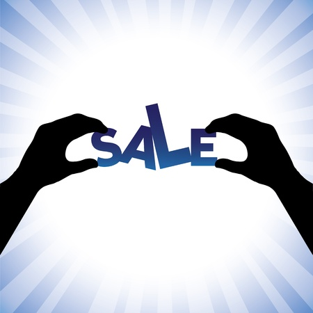 sales person: Concept vector graphic- person hand silhouette holding words sale. This illustration can represents a company announcing sales at huge discounts during holidays