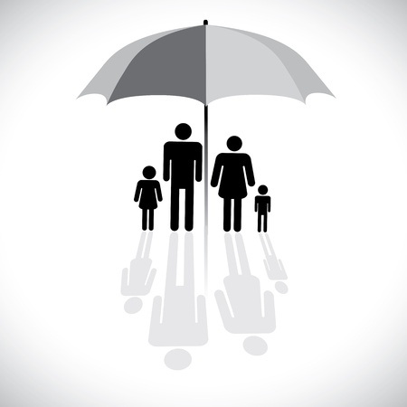 защита: Концепция вектор защиты графический семьи (страхование) и зонтик символ. На рисунке показана семья из четырех человек (отец, мать, сын и дочь) с отражением в значком навесы.