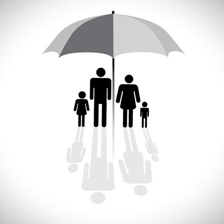 Concepto gráfico vectorial-protección familiar (seguro) y símbolo de paraguas. El gráfico muestra a una familia de cuatro (padre, madre, hijo e hija) con reflejo en un icono de sombrilla. Ilustración de vector