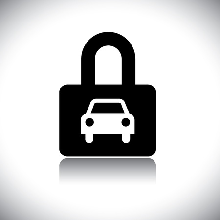 Concept vector graphic- black & white car(motorcar) & lock icon. The illustration conceptually represents protection of car and its safety by insurance and other measures.