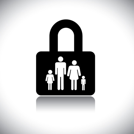 insure: Concept vector graphic- family protection(insurance) & lock symbol. The graphic shows family of four(father, mother, son & daughter) in a lock icon.