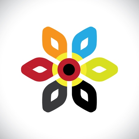 daisyflower: Concept vector graphic- abstract colorful floral(flower) icon(symbol).