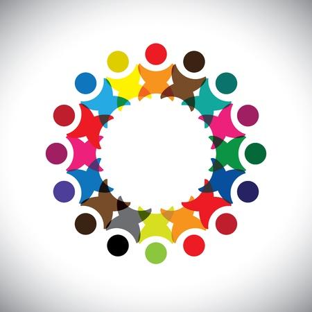 Begrip vector graphic-abstracte kleurrijke werknemer eenheid pictogrammen (tekens).