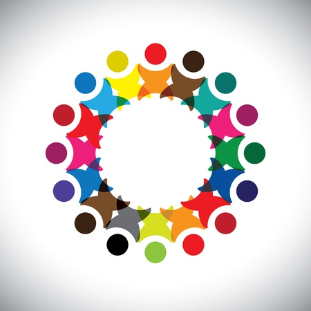 team worker: Concept vector graphic- abstract colorful employee unity icons(signs).