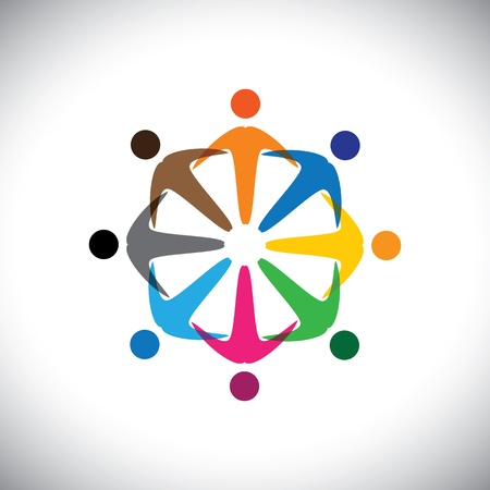 Concept vector graphic- abstract colorful people diversity icons(signs). Vector