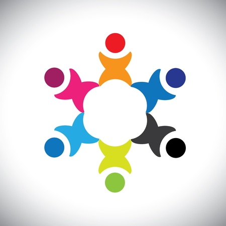 diversidad: Vector Concepto de gráficos abstractos coloridos niños felices jugando icono (signo). La ilustración representa a conceptos como los sindicatos de trabajadores, la diversidad de los empleados, la comunidad y compartir la amistad, los niños jugando, etc