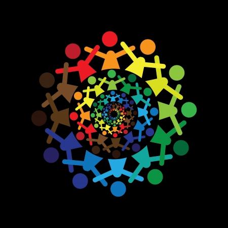 apoyo social: Vector Concepto de gráficos abstractos niños coloridos juntos iconos (signos).