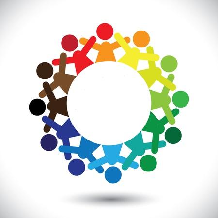 integral: Concepto gr�fico vectorial abstractos coloridos ni�os jugando iconos (signos). La ilustraci�n representa a conceptos como los sindicatos de trabajadores, diversidad de los empleados, la amistad de la comunidad y compartir, los ni�os disfrutando, etc Vectores