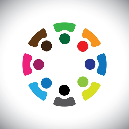 integridad: Gráfico-resumen empresa coloridos iconos empleados compartir Concepto (signos). La ilustración muestra conceptos como los sindicatos de trabajadores, la diversidad de los empleados, la comunidad y compartir la amistad, los niños jugando, etc Vectores