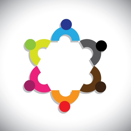 Concept graphic- abstract colorful company executives meeting icons(signs). The illustration shows concepts like worker unions,employee diversity,community friendship & sharing,kids playing,etc